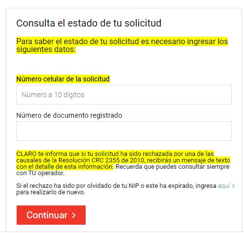 Consultar estado de portabilidad Claro Colombia