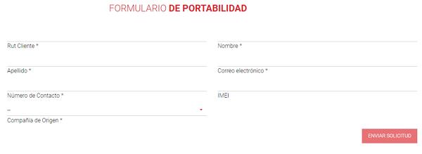 Formulario de solicitud de portabilidad Claro Chile