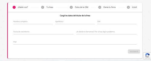 Rellenar formulario de portabilidad a Tuenti Argentina